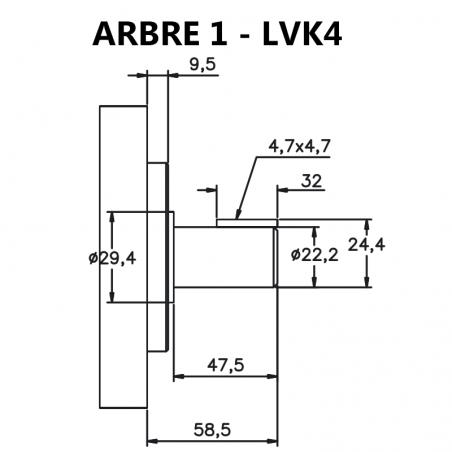 Arbre pour pompes à palettes pour pompes à palettes 25V, LVK4.