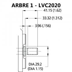 Arbre pour pompe à palettes double LCV2020, VC2020 et V2020.