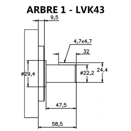 Arbre pour pompes à palettes pour pompes à palettes LVK43 (2520V).