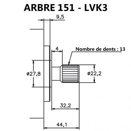 Arbre pour pompes à palettes pour pompes à palettes 20V et LVK3.
