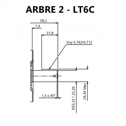 Arbre pour pompes à palettes T6C.
